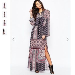 Mango Cara Winter Folk Thigh High Split Maxi Dress